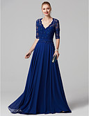 cheap Prom Dresses-Ball Gown V Neck Sweep / Brush Train Chiffon / Lace Bodice Cocktail Party / Prom / Formal Evening Dress with Beading / Sash / Ribbon by TS Couture® / Illusion Sleeve