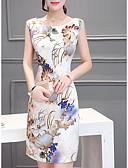 baratos Vestidos de Mulher-Mulheres Tamanhos Grandes Básico / Temática Asiática Delgado Bainha Vestido Floral Cintura Alta Acima do Joelho