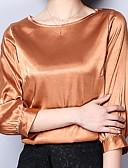 baratos Camisetas Femininas-Mulheres Camiseta Básico Sólido / Seda