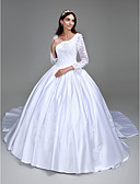 cheap Wedding Dresses-Ball Gown Square Neck Cathedral Train Satin Made-To-Measure Wedding Dresses with Beading / Appliques by LAN TING BRIDE® / Illusion Sleeve