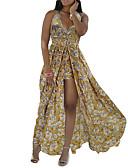 baratos Vestidos de Mulher-Mulheres Tamanhos Grandes Boho Delgado Bainha Vestido - Estampado, Floral Com Alças Assimétrico