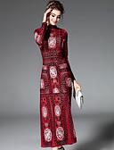 זול שמלות נשים-צווארון עגול קצר מקסי רקום, פרחוני גיאומטרי - שמלה משוחרר בגדי ריקוד נשים