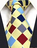 cheap Men's Ties & Bow Ties-Men's Party Work Rayon Necktie - Rainbow Check Jacquard