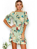 cheap Leggings-Women's Beach Going out Boho Flare Sleeve Dress - Floral Ruffle Print Mini