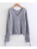 baratos Suéteres de Mulher-Mulheres Manga Longa Pulôver - Côr Sólida, Estampado / Decote V / Primavera