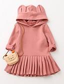 זול שמלות לבנות-שמלה שרוול ארוך פפיון / טלאים / דפוס אחיד חגים פעיל / בסיסי בנות פעוטות / כותנה / חמוד
