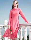 baratos Calcinhas-Mulheres Delgado Bainha Vestido - Básico, Sólido Colarinho Chinês