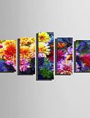 ieftine Tricou-Imprimeuri pânză întinse Modern, Cinci Panouri pânză Vertical Imprimeu Decor de perete Pagina de decorare