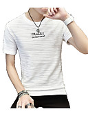 cheap Men's Tees & Tank Tops-Men's Street chic T-shirt - Letter Pure Color / Print Round Neck / Short Sleeve / Long