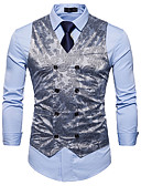 cheap Men's Blazers & Suits-Men's Business Casual Vest-Solid Colored Floral Print / Sleeveless / Work