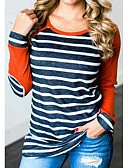 저렴한 티셔츠-여성용 줄무늬 컬러 블럭 티셔츠, 활동적