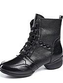 זול טישרטים לגופיות לגברים-בגדי ריקוד נשים מגפי ריקוד עור נאפה Leather סוליה חצויה עקב נמוך מותאם אישית נעלי ריקוד שחור