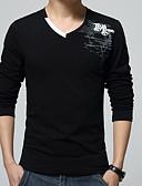 billige T-skjorter og singleter til herrer-Bomull V-hals T-skjorte Herre - Ensfarget Chinoiserie / Langermet