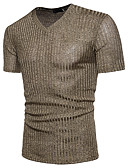 cheap Men's Tees & Tank Tops-Men's Basic Cotton T-shirt - Solid Colored Sequins V Neck / Short Sleeve / Summer