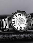 baratos Couro-Homens Relógio Casual / Relógio de Moda Chinês Calendário / Mostrador Grande Aço Inoxidável Banda Luxo / Fashion Preta / Branco