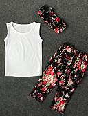 preiswerte Kleidersets für Jungen-Baby Mädchen Aktiv Alltag Blumen Druck Ärmellos Standard Baumwolle / Polyester Kleidungs Set Weiß 110 / Niedlich