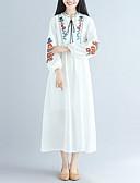זול חולצות לנשים-לבן מקסי דפוס, פרחוני - שמלה משוחרר בגדי ריקוד נשים / אביב / קיץ