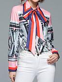 tanie Dwuczęściowe komplety damskie-Koszula Damskie Moda miejska, Nadruk Kołnierzyk koszuli Kolorowy blok Bufka / Wiązanie