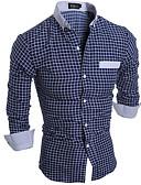baratos Camisas Masculinas-Homens Camisa Social Simples Quadriculada / Manga Longa