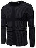 billige Herreblazere og jakkesæt-Rund hals Tynd Herre - Stribet Bomuld Gade T-shirt Sort XL / Langærmet / Forår / Sommer