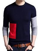tanie Męskie swetry i swetry rozpinane-Męskie Okrągły dekolt Luźna Pulower Wielokolorowa Długi rękaw
