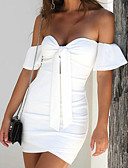 cheap Women's Dresses-Women's Going out Basic Slim Bodycon / Sheath Dress - Solid Color White Strapless / Off Shoulder / Spring / Summer / Bow