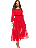 cheap Women's Dresses-Women's Holiday / Beach Boho Lantern Sleeve Loose Chiffon / Swing Dress - Solid Colored Red, Ruffle High Waist Maxi Strapless / Spring