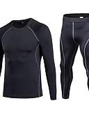 ieftine Maieu & Tricouri Bărbați-Bărbați activewear Set - Albastru, Roșu / alb, Gri Sport Mată Leggings / Set de Îmbrăcăminte Fitness Manșon Lung / Pant lung Îmbrăcăminte de Sport  Respirabilitate Strech