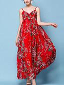 cheap Women's Dresses-Women's Holiday Boho Loose Swing Dress - Floral Red, Print High Waist Maxi Strap / Summer