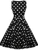 ieftine Regina Vintage-Pentru femei De Bază Bumbac Zvelt Teacă Rochie Mată Talie Înaltă Lungime Genunchi Negru / Vară / Buline