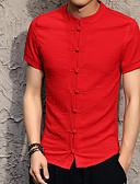 billige T-shirts og undertrøjer til herrer-Stående krave Tynd Herre - Ensfarvet Bomuld, Basale Kineseri Plusstørrelser Skjorte Sort XXL / Kortærmet / Sommer