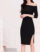 tanie Sukienki-Damskie Podstawowy Bawełna Bodycon Sukienka - Jednokolorowe Z odsłoniętymi ramionami Midi