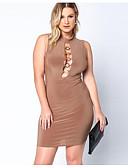 זול שמלות נשים-מעל הברך אחיד - שמלה נדן מידות גדולות בסיסי חגים בגדי ריקוד נשים