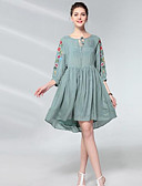 זול שמלות נשים-מותניים גבוהים מעל הברך רקום, פרחוני - שמלה נדן וינטאג' חגים בגדי ריקוד נשים