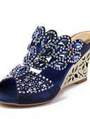 cheap Women's Fur & Faux Fur Coats-Women's Shoes Polyurethane Spring / Summer Fashion Boots Sandals Wedge Heel Peep Toe Rhinestone / Crystal / Sparkling Glitter Dark Blue /