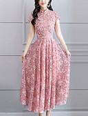 זול שמלות נשים-עומד מקסי תחרה, אחיד - שמלה נדן / סווינג רזה מידות גדולות בגדי ריקוד נשים / קיץ