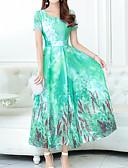 baratos Vestidos de Mulher-Mulheres Boho / Sofisticado Tamanhos Grandes Delgado Calças - Floral Estampado Laranja / Decote U / Feriado