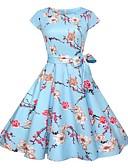 tanie Sukienki sylwestrowe-Damskie Vintage / Moda miejska Szczupła Spodnie - Kwiaty Nadruk Niebieski / Wyjściowe