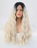 ieftine Bluze Damă-Lănțișoare frontale din sintetice Ondulee Naturale Blond Păr Sintetic Păr Ombre Blond Perucă Pentru femei Lung Față din Dantelă Negru și Auriu