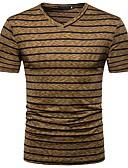 billige T-skjorter og singleter til herrer-Bomull V-hals T-skjorte Herre - Stripet Aktiv / Grunnleggende / Kortermet