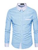 お買い得  メンズシャツ-男性用 ベーシック シャツ ワイドカラー スリム ストライプ / 長袖