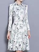 povoljno Ženske haljine-Žene Pamuk Puff rukav Širok kroj Haljina - Drapirano, Cvjetni print Do koljena Bijela