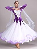 tanie Stroje balowe-Taniec balowy Suknie Damskie Szkolenie Wydajność Tiul Aksamit Haft nakładany Kryształy / kryształy górskie Długi rękaw Wysoki Ubierać