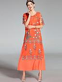 זול שמלות נשים-מידי רקום, פרחוני - שמלה משוחרר וינטאג' בגדי ריקוד נשים