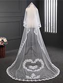 זול הינומות חתונה-שכבה אחת מעוגל תחרה הינומות חתונה צעיפי קפלה עם ריקמה טול