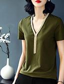 abordables Tops de Mujeres-Mujer Algodón Camiseta, Escote en Pico Un Color