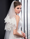 cheap Wedding Veils-Two-tier Embroidery Wedding Veil Chapel Veils 53 Embroidery Tulle