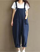 tanie Damskie spodnie-Damskie Bawełna Jeansy Spodnie - Z marszczeniami, Solidne kolory