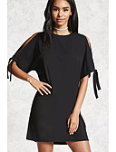 cheap Women's Dresses-Women's Casual Street chic Loose T Shirt Dress - Solid Color, Bow Mini