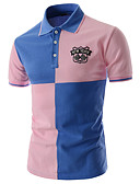 cheap Men's Polos-Men's Work Street chic Cotton Slim Polo - Color Block Patchwork Shirt Collar